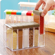 YIXIN Set of 6 Spice Shaker Seasoning Bottle Jar Condiment Storage Container with Tray for Salt Sugar Cruet, Colour Random Delivery