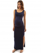 PattyBoutik Mama Scoop Neck Sleeveless Maxi Dress