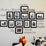 LUCKKYY® Family Wall Decal~~ Set of 12 Family Words Quote Vinyl Family Wall Sticker Picture Wall Decal Family Room Art Decoration