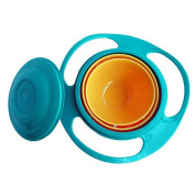 SZTARA Funny Toy Baby Trainning Tableware 360 Dgree Rotation Spill-proof Gyroscope Bowl Flying Disc Bowls With Lid Green And Orange