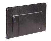 Real Leather A4 Document Folder Folio Conference Zip Folder Tablet Case CRUISE Black