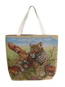 Woven handbag with leopard pattern