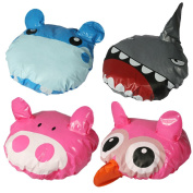 kilofly Kids Fun Shower Bath Caps Value Pack [Set of 4] Owl, Hippo, Pig, Shark