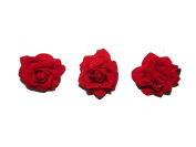 BEAUTIFUL SMALL RED ROSE HAIR CLIP ON FORK CLIP - X3 - BRIDESMAIDS WEDDINGS FESTIVAL