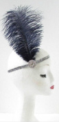 Navy Blue Ostrich Feather Headband Flapper 1920s Great Gatsby Vintage Headpiece Silver Z01
