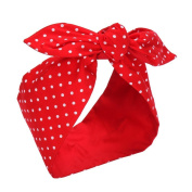 Sea Team Bows Red with White Polka Dots Double Wide Headwrap Cotton Headband