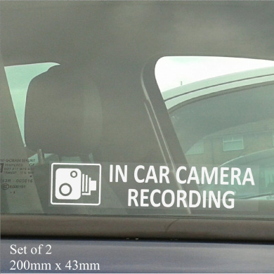 2 x In Car Camera Recording-200mm x 50mm-Internal Window Stickers-CCTV Sign-Vehicle,Van,Lorry,Truck,Taxi,Bus,Mini Cab,Minicab-Go Pro,Dashcam