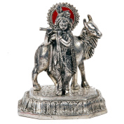 The Hue Cottage Lord Krishna with Cow Handicraft Statue Silver Showpiece Hindu Religious Statue Decorative Gift Items Decor