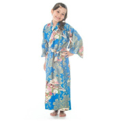 Age 8 to 9 Blue Cotton Japanese Girls Kimono