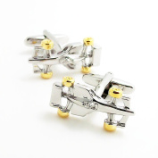 Covink 3d Silver and Gold Formula Racing Car Cufflinks F1 Car Cuff Sports Gemelos for Car Fans with Gift Bag