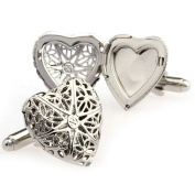 Covink Vintage Celtic Cross Silver Locket Heart Photo Frame Cufflinks Hollowed Carved with Gift Box