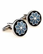 SAMGU Flower plant blue cufflinks male French shirt cuff links for men's Jewellery Gift Colour black & blue