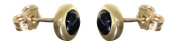 Hobra/Gold 585 Gold Stud Earrings with Sapphire Drop Earrings - Gold Stud Earrings - Sapphire