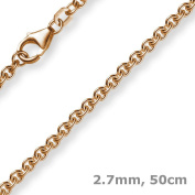 2.7 mm Chain Necklace Rose Gold Round Anchor Chain Made of 585 gold, 50 cm Unisex