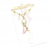 ch06 °F Anklet/Bracelet Plaited hand set beads and leaf charm Ethnic Beige - Fashion Jewellery