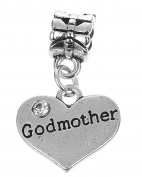 Godmother Rhinestone Heart Pendant Charm Fits Pandora Style Bracelets Womens Girls Jewellery