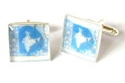Indian Postage Stamp Cufflinks, Indian Stamp Cufflinks, Indian Cufflinks, Travel Cufflinks