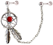 Silver dream catcher ear-cuff earrings with genuine stone