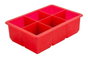 6 Cavity Red Silicone Ice Cube Mould 5.1cm Square Moulds