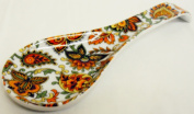 Paisley Spoon Rest Ceramic Porcelain Orange Paisley Pattern Spoon Rest Hand Decorated in the U.K.