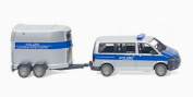 Police - VW T5 GP Multivan with horse trailer - Model Car, Ready-made - Wiking 1:87