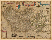Large A1 Size (80cm x 60cm ) Reproduction Antique 16th Century Map of Northern and Southern Ireland by Abraham Ortelius