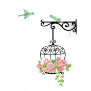 Cy-buity 55*85cm Cage Flower Bird Lovely Window Handdrawing Decal DIY Removable Art Vinyl Wall Sticker PVC Decor Mural Home Room Decoration
