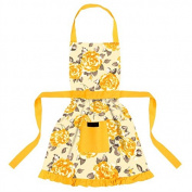 Ragged Rose Cotton Betsy Floral Girls Apron, Gold