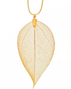 Ana Morales 24 K Gold Plated Women's Pendant Natural Leaf Blade Length ca 90/100 mm