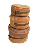 Distressed Leather Fly Fishing Reel Case Lambs Wool Lined