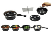20cm Multi Use Four Way Pan With Vented Glass Lid, Egg Poacher, Vegetable Steamer - Keep Vegetables Separate while cooking