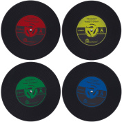 Set of 4 Insulated Non-Slip Silicone Cup Coasters Record Vinyl Retro Vintage Bar