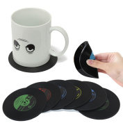JJOnlineStore - 6pcs Retro CD Disc Record Vinyl Vintage Groovy Coffee Drink Cup Mug Mat Coasters Chic Silicone Tableware Cafe Kitchen Lounge Pub Bar Home