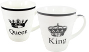 Pair of Black and White King and Queen Mugs