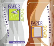 Paper Shower-Alcohol Free (NEW!) 120 Body Wipe Packs (A Wet and Dry Towel in Each Pack) Per Order.