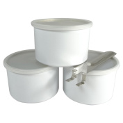 Wax Necessities White Empty Wax Can 400g 420ml (3 Pack) & 1 Handle for Wax Can