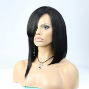 WOB Hair 7A Brazilian virgin Human Hair Full Lace Wig 150% Density Glueless Short Bob Wig With Bangs For Black Women 30cm 1# Hair Colour