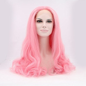 Silmei Sweet Natural And Soft Heat Resistant Synthetic Fibres Pink Ombre Long Wavy Synthetic Wigs Lace Front Wig