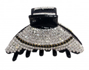 JCPeniel Elegant Style Medium Size Two tones Rhinestones Claw Clip Jaw Clips Black