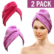 Bath Blossom Microfiber Hair Towel - Fast Drying Hair Wrap Turban Style