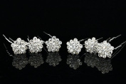 Set of 6 Star Flower Rhinestone Crystal Hair Pins H078
