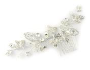 Pave Leaf Design Dressy Hair Comb for Women