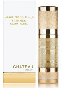 ABSOLUTE GOLD 24K SHIMMER GLOW FLUID, 24 Karat Gold, SILK PEPTIDES and HYALURONIC Acid. Excellent for all skin types. 1 fl.oz-30 ml