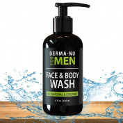 Daily Facial Cleanser & Body Wash for Men By Derma-nu - Moisturising Body Wash + Face Wash for Men to Cleanse + Refresh + Energise Your Skin - Certified Organic & Natural Ingredients - 240ml