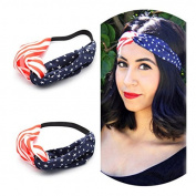 Akak Store New American Flag Headband USA 4th of July Head wrap Fashion Elastic Hair Bands Bandana Turban Hair Accessories