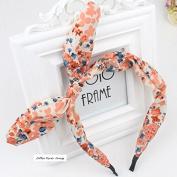 Akak Store Fashion Chiffon Floral Style Bowknot Headbands Butterfly Bow Knot Adjustable Hair Hoop Rabbit Ears Headband for Women Girls Teens(1Pcs,Orange)