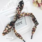 Akak Store Fashion Chiffon Floral Style Bowknot Headbands Butterfly Bow Knot Adjustable Hair Hoop Rabbit Ears Headband for Women Girls Teens(1Pcs,Black)