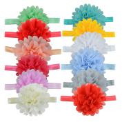 Fashion Baby Girls Hairpins Solid Colour Chiffon Lotus Flower Headwear Hair Head Band Accessories ,12 Colour Set