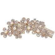 EVER FAITH® Bridal Gold-Tone Flower Clear Austrian Crystal Simulated Pearl Hair Side Comb
