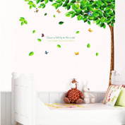 V-Vitoria® New PVC 3D Creative Green Tall Tree with Falling Leaf living Room TV backdrop Wall Stickers baby kid's decal Paper House Sofa Room
